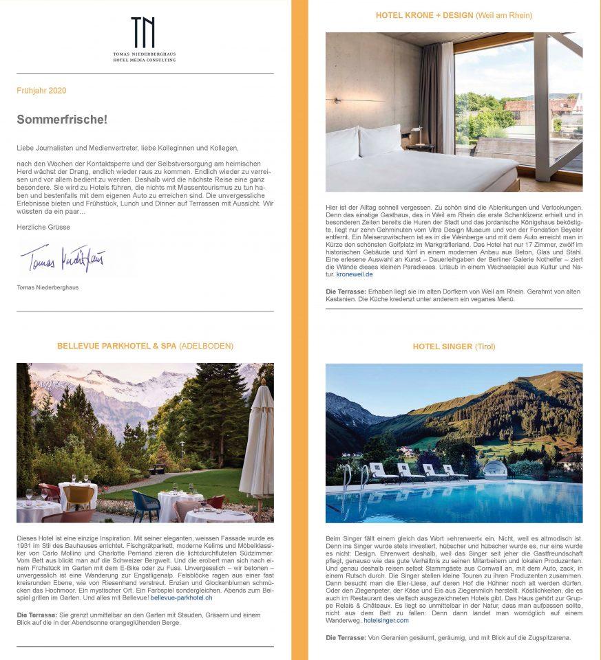 TN Newsletter Frühjahr 2020, TN Hotel Consulting