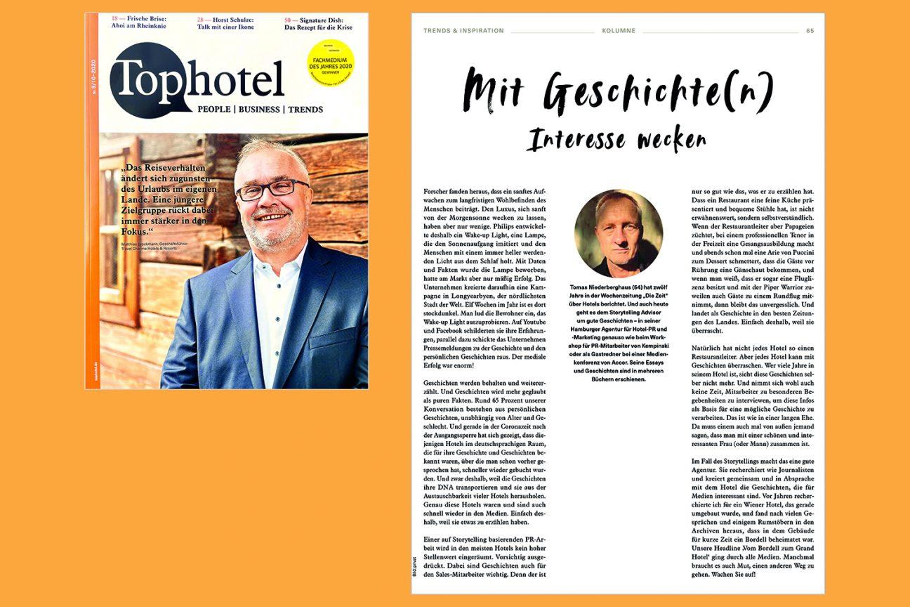 Tophotel_Ausgabe Oktober_2020_Mit Geschichten Interesse wecken_Kolumne_Tomas Niederberghaus, Hotel PR, Storytelling